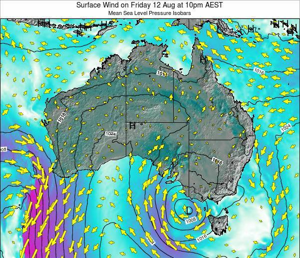Australia Surface Wind on Tuesday 29 Jul at 4pm EST