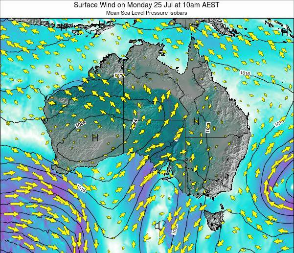 Australia Surface Wind on Sunday 27 Apr at 10pm EST