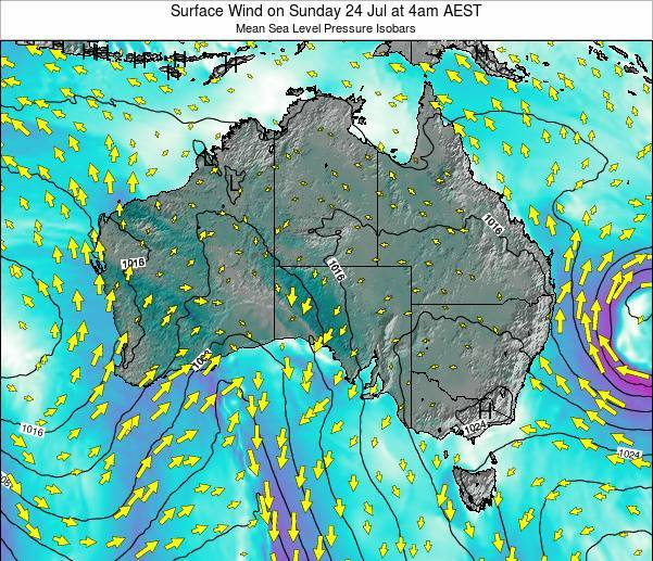 Australia Surface Wind on Monday 16 Dec at 5am EST