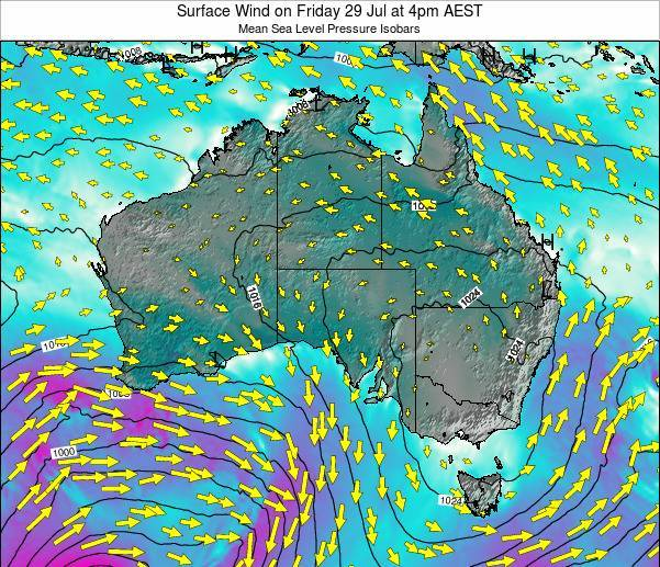 Australia Surface Wind on Tuesday 30 May at 4pm AEST