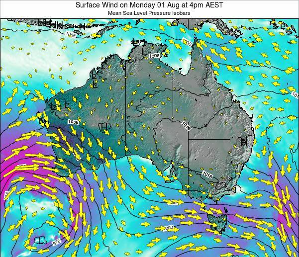 Australia Surface Wind on Monday 20 May at 10pm EST