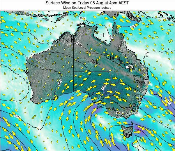 Australia Surface Wind on Friday 18 Apr at 10pm EST