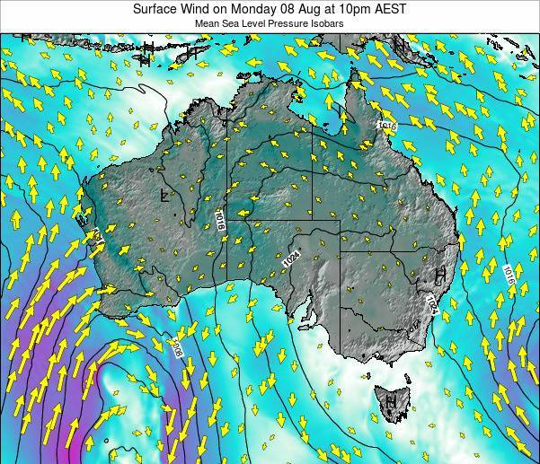 Australia Surface Wind on Tuesday 29 Jul at 4am EST