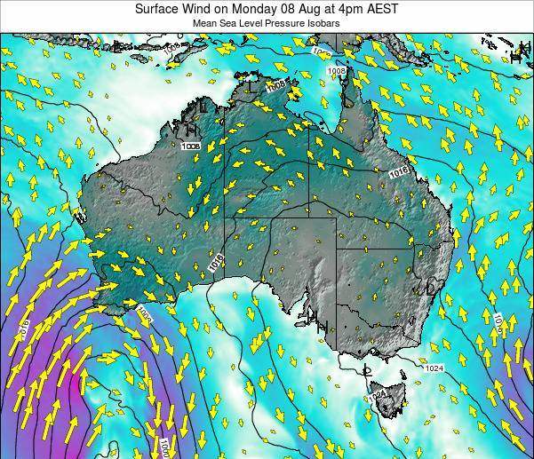 Australia Surface Wind on Wednesday 01 Oct at 10pm EST