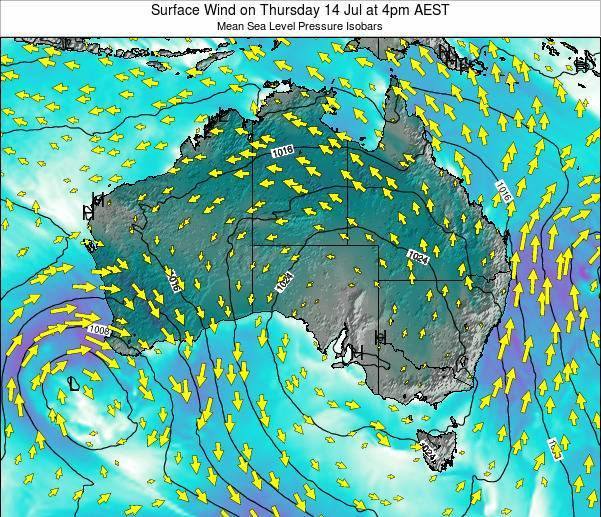 Australia Surface Wind on Sunday 23 Oct at 5pm AEDT