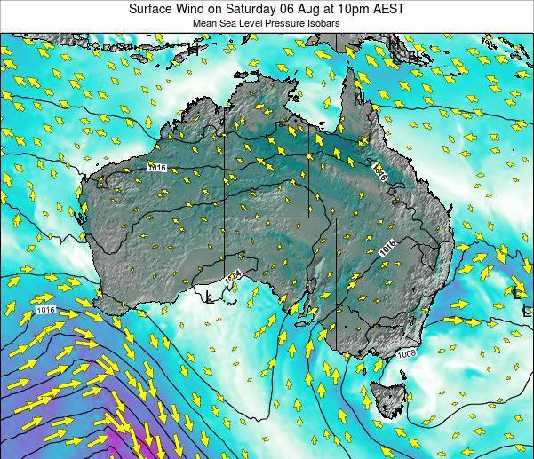 Australia Surface Wind on Friday 01 Aug at 4am EST