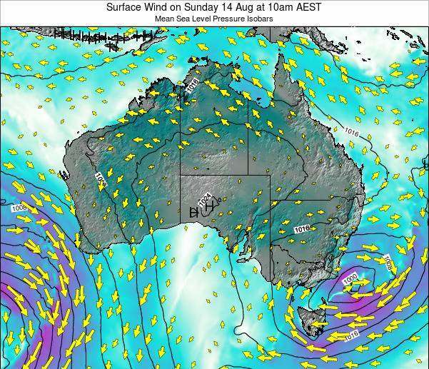 Australia Surface Wind on Sunday 03 Aug at 4pm EST