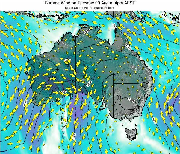 Australia Surface Wind on Wednesday 10 Feb at 5am AEDT