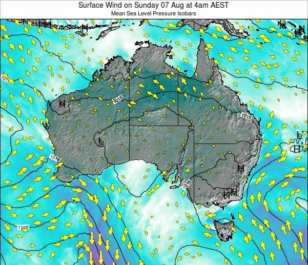 Australia Surface Wind on Monday 22 Jan at 5am AEDT map