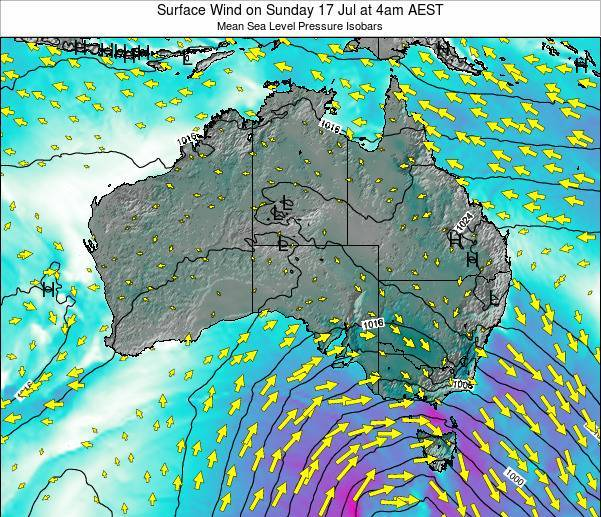 Australia Surface Wind on Thursday 12 Dec at 11pm EST
