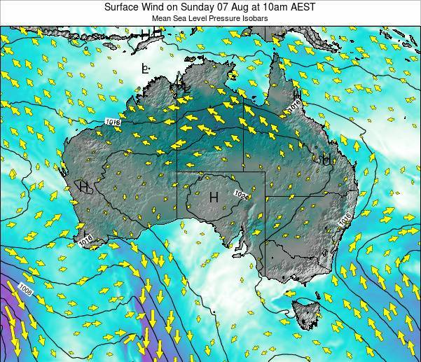 Australia Surface Wind on Sunday 27 Jul at 4am EST