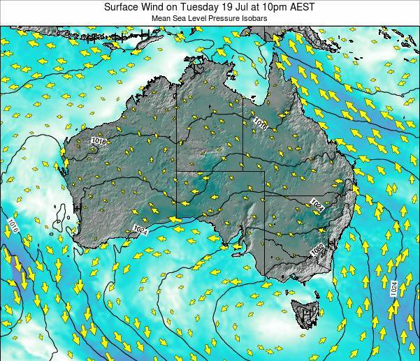 Australia Surface Wind on Monday 30 Mar at 5pm EST