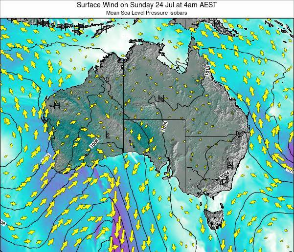 Australia Surface Wind on Thursday 26 May at 10pm AEST