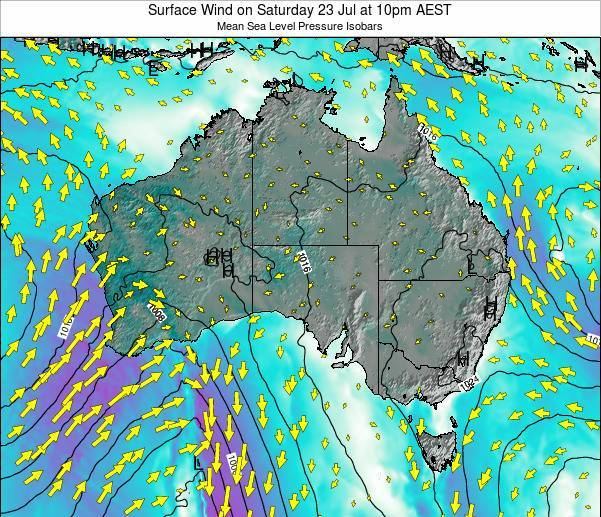 Australia Surface Wind on Wednesday 19 Jun at 4pm EST