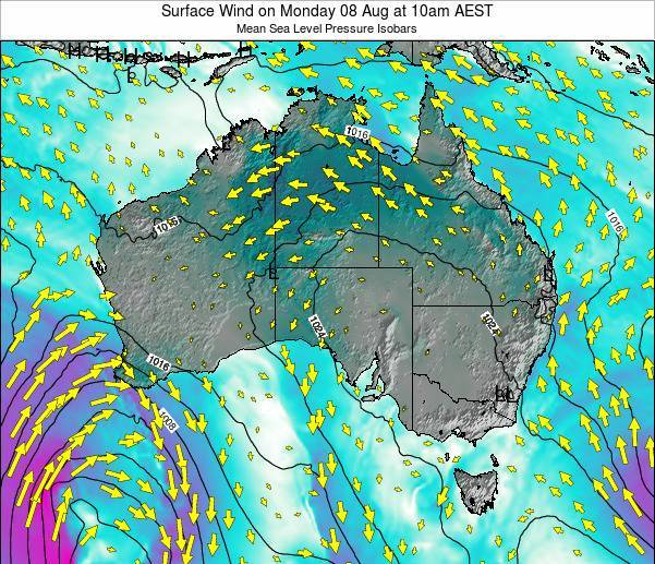 Australia Surface Wind on Friday 28 Nov at 5pm EST