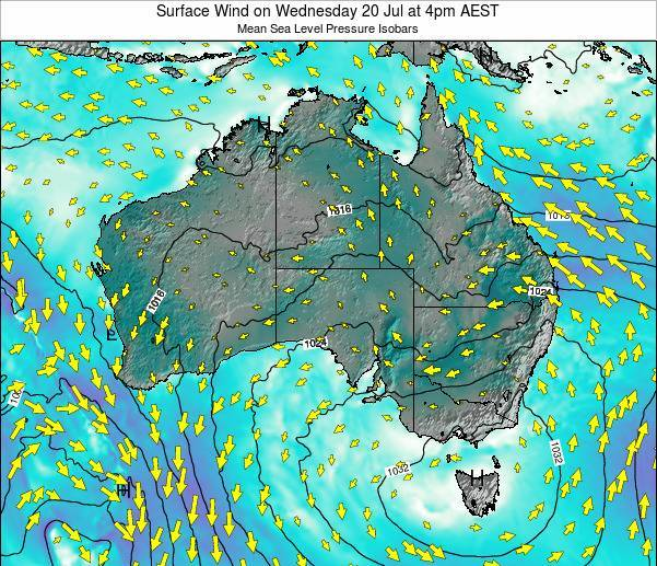 Australia Surface Wind on Monday 21 Apr at 10am EST