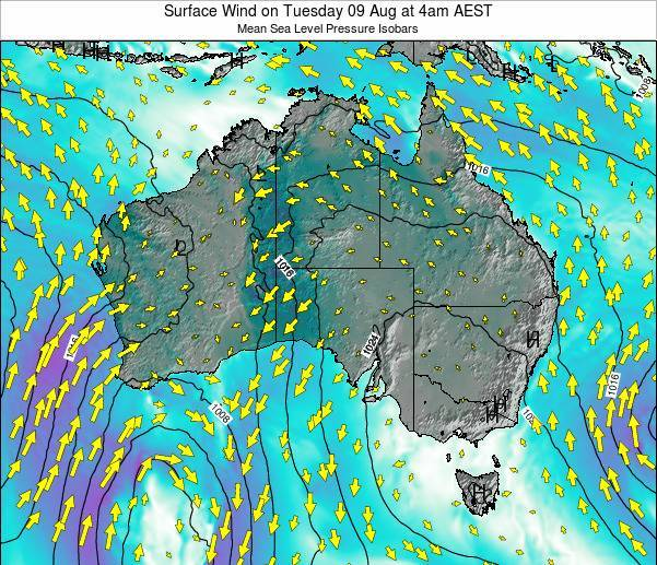 Australia Surface Wind on Wednesday 11 Dec at 11am EST
