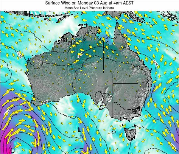 Australia Surface Wind on Saturday 08 Mar at 5pm EST