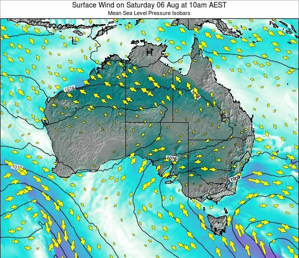 Australia Surface Wind on Friday 25 Apr at 4pm EST