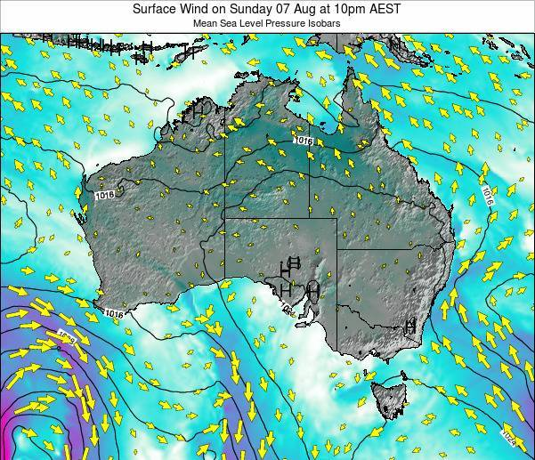 Australia Surface Wind on Sunday 06 Sep at 10pm AEST