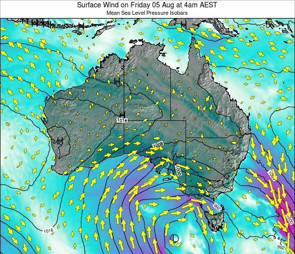 Australia Surface Wind on Friday 24 May at 10pm EST