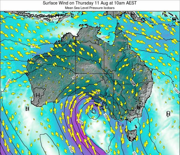 Australia Surface Wind on Wednesday 12 Mar at 5am EST