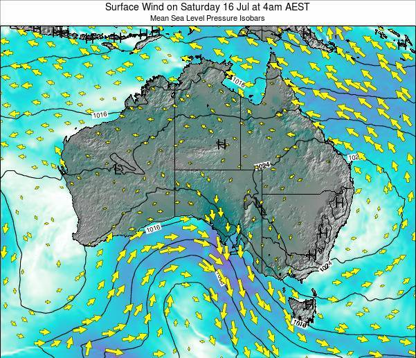 Australia Surface Wind on Friday 28 Jul at 4am AEST