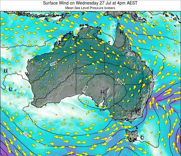 Australia Surface Wind on Sunday 20 Apr at 4am EST