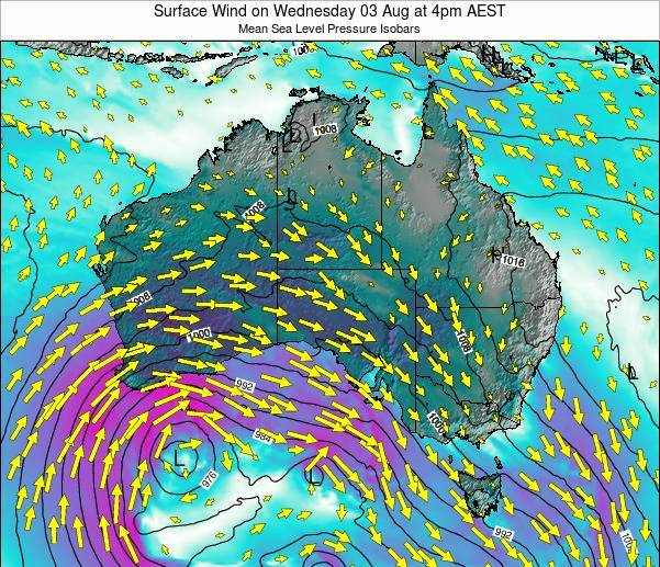 Australia Surface Wind on Monday 15 Feb at 11am AEDT