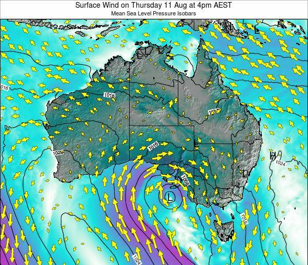 Australia Surface Wind on Sunday 27 Jul at 10pm EST