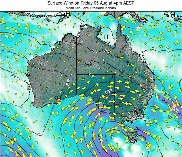 Australia Surface Wind on Saturday 21 Dec at 5pm EST