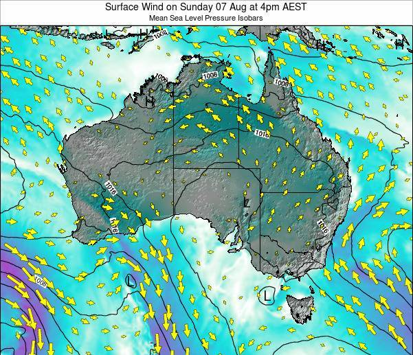 Australia Surface Wind on Thursday 25 Dec at 5am EST