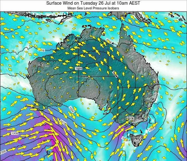 Australia Surface Wind on Thursday 24 Aug at 4am AEST