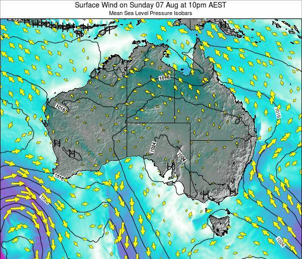 Australia Surface Wind on Friday 25 Jul at 4am EST