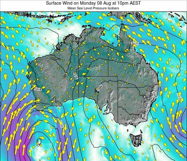 Australia Surface Wind on Saturday 26 Apr at 10am EST