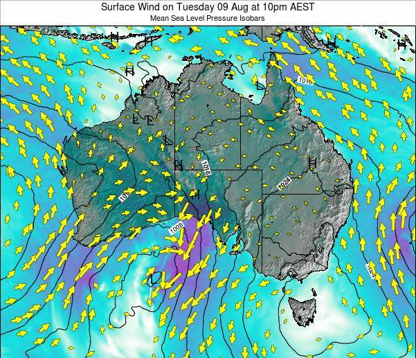 Australia Surface Wind on Monday 07 Sep at 10am AEST