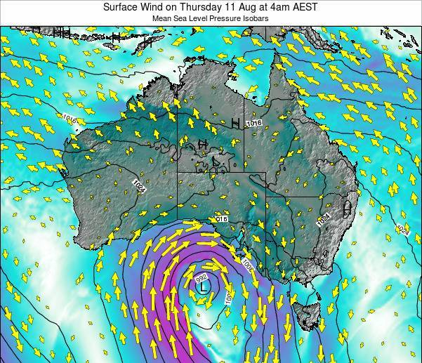 Australia Surface Wind on Thursday 06 Aug at 4am AEST