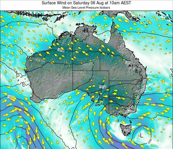 Australia Surface Wind on Tuesday 10 Dec at 11pm EST