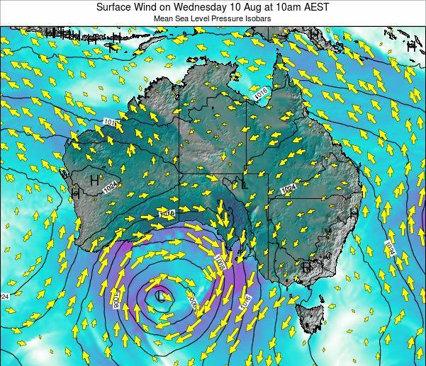 Australia Surface Wind on Friday 25 Jul at 10pm EST