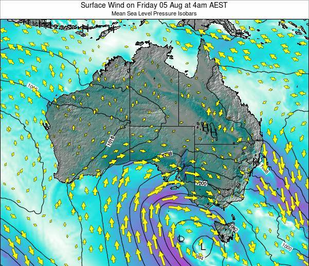 Australia Surface Wind on Saturday 23 Aug at 4pm EST