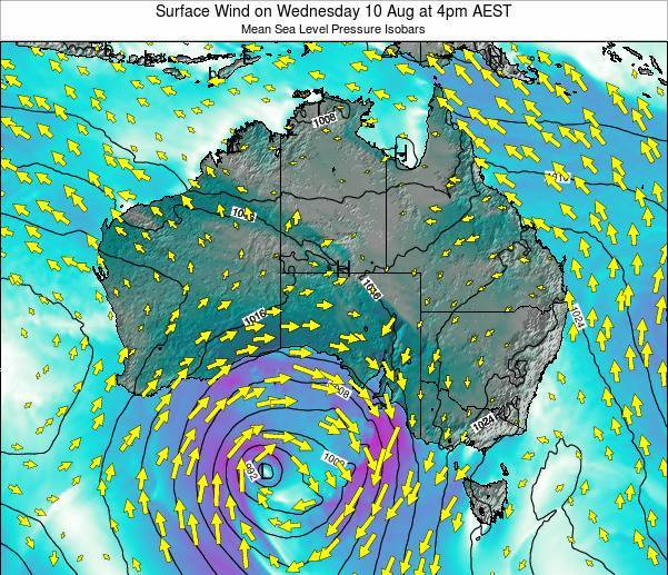 Australia Surface Wind on Sunday 26 Oct at 5am EST