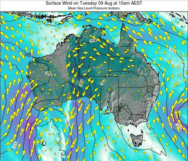 Australia Surface Wind on Friday 03 Apr at 5pm EST