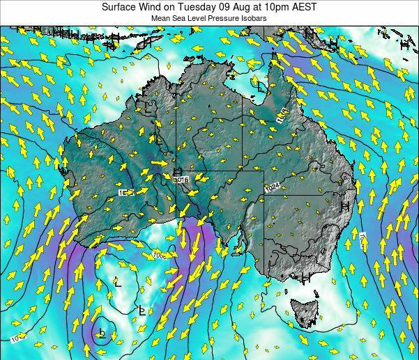 Australia Surface Wind on Friday 24 May at 4am EST