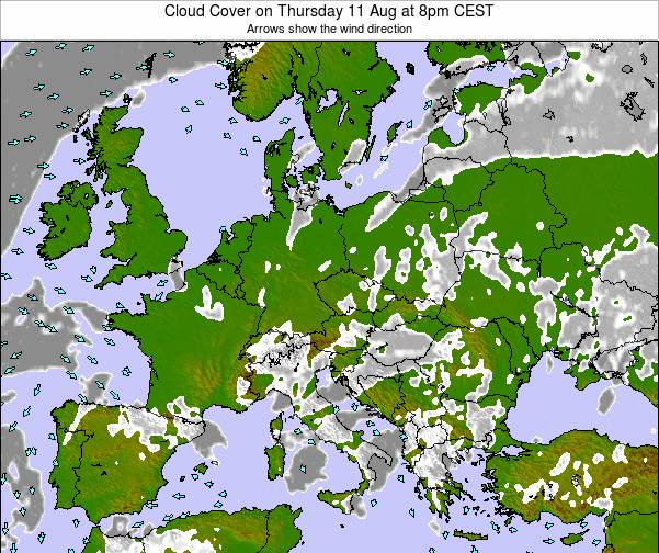 Slovenia Cloud Cover on Monday 24 Sep at 8pm CEST map