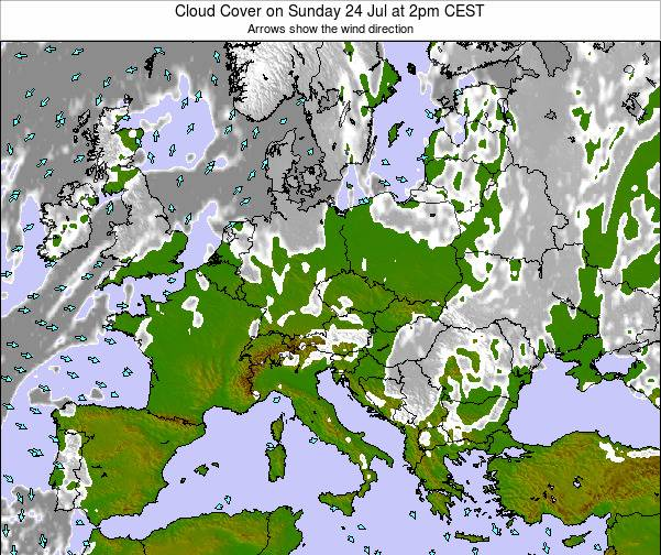 Austria Cloud Cover on Friday 13 Dec at 7am CET map