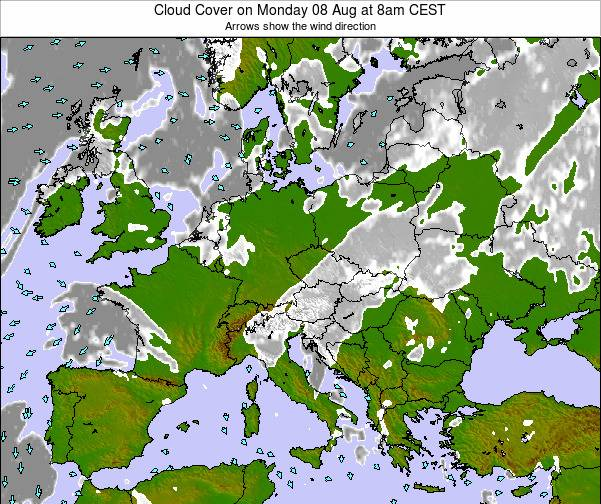 Slovenia Cloud Cover on Wednesday 21 Feb at 1pm CET map