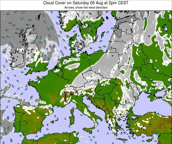 Austria Cloud Cover on Thursday 24 Jul at 2pm CEST map
