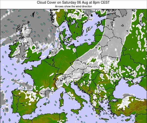 Austria Cloud Cover on Tuesday 29 Jul at 2am CEST map