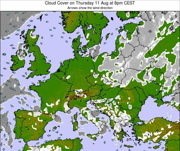 Montenegro Cloud Cover on Monday 27 May at 2pm CEST map