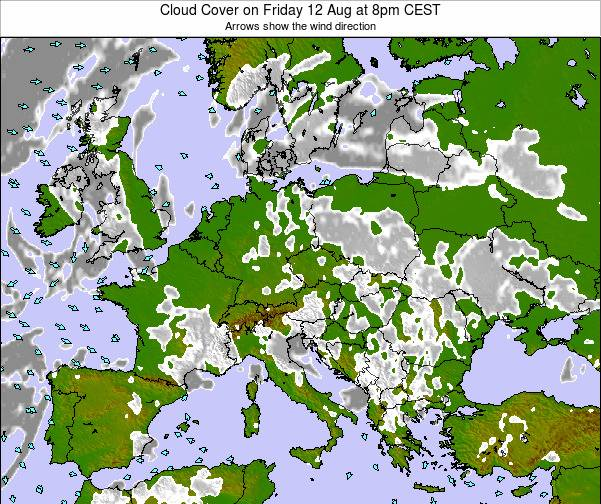 Poland Cloud Cover on Thursday 23 May at 8am CEST map